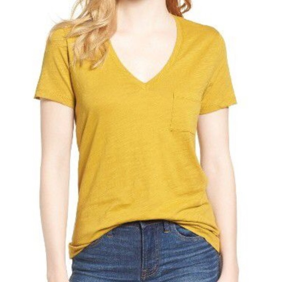 c6397bf1868a5d Madewell Tops - Mustard Madewell Whisper Cotton Pocket Tee. Size S